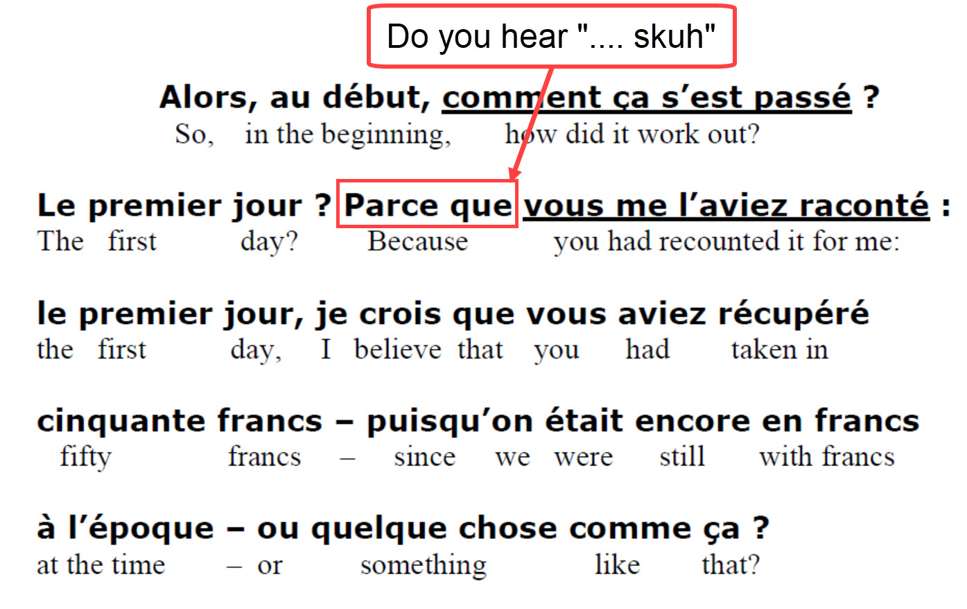 French Listening Comprehension - parce que