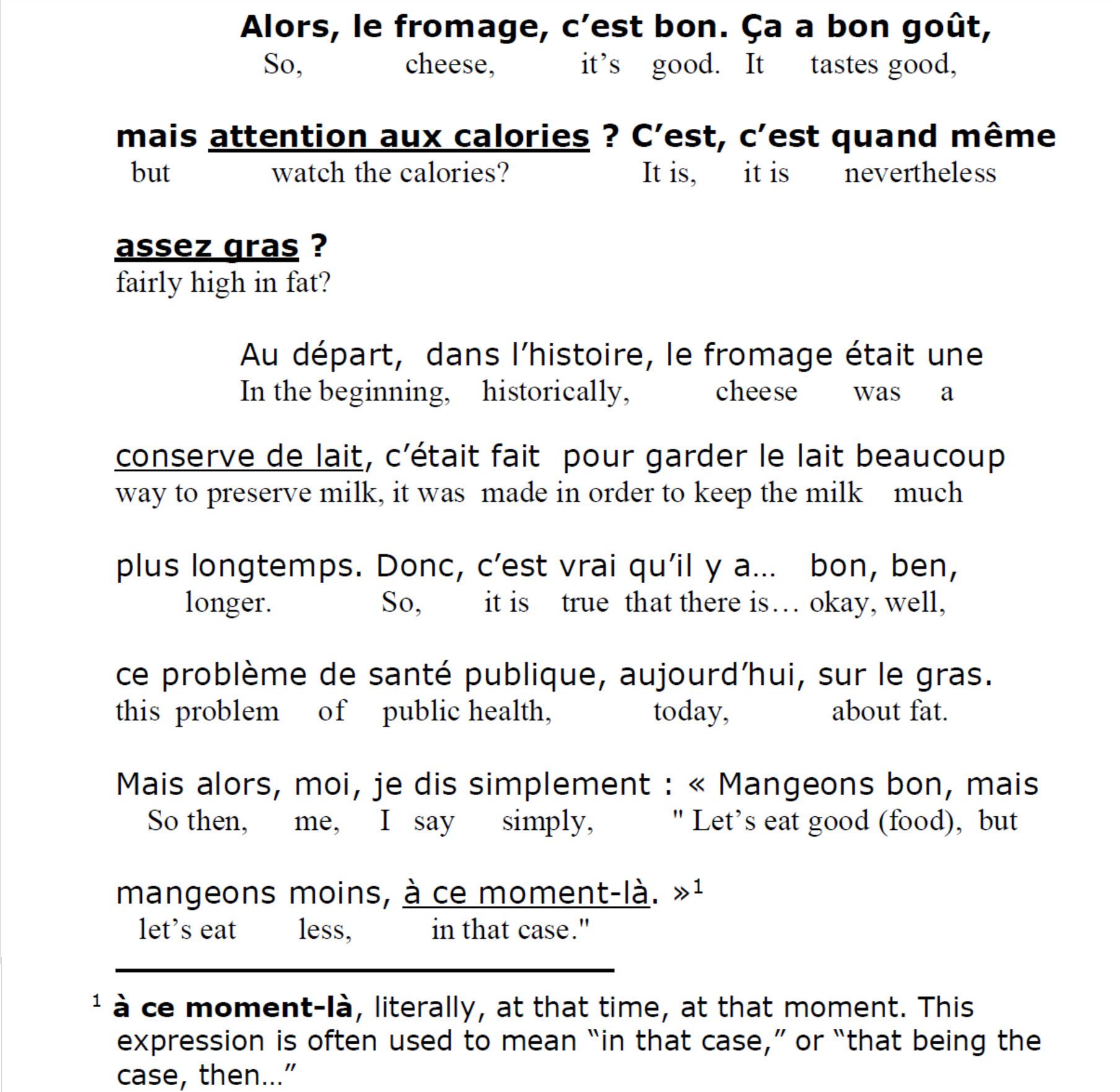 French Listening Comprehension - dans ce cas